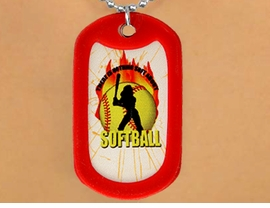 """<Br>                     LEAD & NICKEL FREE!!<Br> W12209N - """"THERE IS NOTHING SOFT..<Br>ABOUT SOFTBALL"""" RED DOG TAG & BALL<Br>      CHAIN NECKLACE AS LOW AS $3.45"""