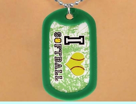 """<Br>          LEAD & NICKEL FREE!!<Br>W12211N - """"I LOVE SOFTBALL""""<Br>GREEN DOG TAG & BALL CHAIN<Br>   NECKLACE AS LOW AS $3.45"""