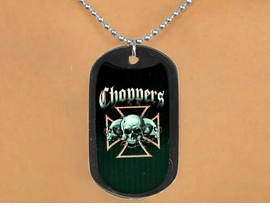 "<Br>               LEAD & NICKEL FREE!!<Br>   W12618N - ""CHOPPERS"" BLACK<Br>DOG TAG & BALL CHAIN NECKLACE<Br>               FROM $3.45 TO $7.50"