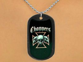 """<Br>               LEAD & NICKEL FREE!!<Br>   W12618N - """"CHOPPERS"""" BLACK<Br>DOG TAG & BALL CHAIN NECKLACE<Br>               FROM $3.45 TO $7.50"""