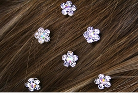 <Br>                  LEAD & NICKEL FREE!!<Br> W12658HJ - SIX-GENUINE AUSTRIAN<Br>      CRYSTAL FLOWER HAIR ACCENTS<Br>      FROM $8.38 EACH PACKAGE OF 6
