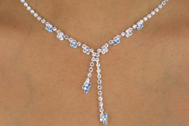 <Br>                LEAD & NICKEL FREE!!<BR>W12707NE - CRYSTAL BLUE & CLEAR<Br>        GENUINE AUSTRIAN CRYSTAL<BR>           NECKLACE & EARRING SET<br>              FROM $12.00 TO $18.00