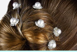 <Br>            LEAD & NICKEL FREE!!<Br>     W12763HJ - FAUX PEARL &<Br>   GENUINE AUSTRIAN CRYSTAL<Br>       6-PIECE HAIR PICK SET<Br>FROM $11.38 EACH PACKAGE OF 6