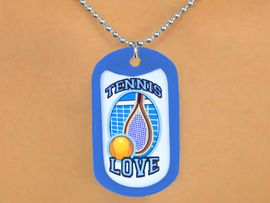 """<Br>              LEAD & NICKEL FREE!!<Br>  W12959N - """"TENNIS LOVE"""" BALL<Br>& RACKET  DOG TAG & BALL CHAIN<Br>       NECKLACE AS LOW AS $3.45"""