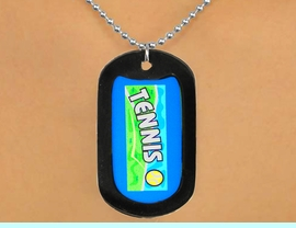 """<Br>           LEAD & NICKEL FREE!!<Br>  W12963N - """"TENNIS"""" & BALL<Br>BLACK  DOG TAG & BALL CHAIN<Br>    NECKLACE AS LOW AS $3.45"""