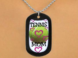 """<Br>               LEAD & NICKEL FREE!!<Br>W12964N - """"TENNIS MOM"""" & BALL<Br>    BLACK  DOG TAG & BALL CHAIN<Br>        NECKLACE AS LOW AS $3.45"""