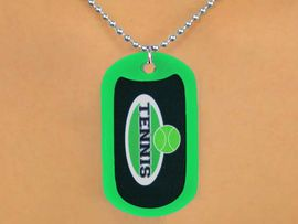 """<Br>           LEAD & NICKEL FREE!!<Br>  W12965N - """"TENNIS"""" & BALL<Br>GREEN  DOG TAG & BALL CHAIN<Br>    NECKLACE AS LOW AS $3.45"""