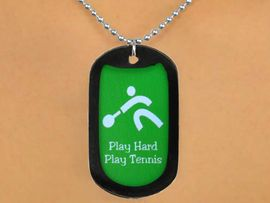 """<Br>              LEAD & NICKEL FREE!!<Br>    W12967N - """"PLAY HARD, PLAY<Br> TENNIS"""" BLACK  DOG TAG & BALL<BR>CHAIN NECKLACE AS LOW AS $3.45"""