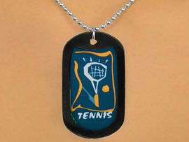 """<Br>           LEAD & NICKEL FREE!!<Br>W12968N - """"TENNIS"""" & RACKET<Br>BLACK  DOG TAG & BALL CHAIN<Br>    NECKLACE AS LOW AS $3.45"""