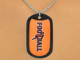 """<Br>           LEAD & NICKEL FREE!!<Br>W12972N - BLACK """"FOOTBALL""""<Br>         DOG TAG & BALL CHAIN<Br>    NECKLACE AS LOW AS $3.45"""