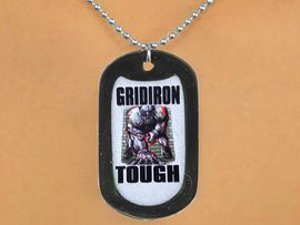 """<Br>            LEAD & NICKEL FREE!!<Br>W12976N - """"GRIDIRON TOUGH""""<Br>BLACK  DOG TAG & BALL CHAIN<Br>    NECKLACE AS LOW AS $3.45"""
