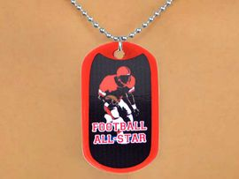 """<Br>             LEAD & NICKEL FREE!!<Br>W12981N - """"FOOTBALL ALL-STAR""""<Br>      RED DOG TAG & BALL CHAIN<Br>      NECKLACE AS LOW AS $3.45"""