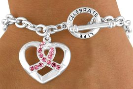 """<Br>         LEAD & NICKEL FREE!!<Br>W13135B - """"CELEBRATE LIFE""""<Br> PINK AWARENESS RIBBON &<br>    HEART TOGGLE BRACELET<Br>         FROM $4.70 TO $9.25"""