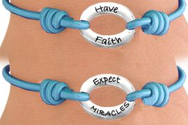 """<Br>                 LEAD & NICKEL FREE!!<Br>     W13231B - """"HAVE FAITH, EXPECT<br> MIRACLES"""" DOUBLE-SIDED STRETCH<Br>      BRACELET FROM $2.81 TO $6.25"""