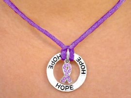 "<bR>                    LEAD & NICKEL FREE!!<BR>W13234N - SILKY PURPLE ""HOPE"" RINGLET<Br> & AUSTRIAN CRYSTAL GENERAL CANCER<Br>  AWARENESS RIBBON LOBSTER CLASP<Br>            NECKLACE AS LOW AS $2.85"