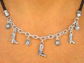 <Br>              LEAD & NICKEL FREE!!<Br>      W13345NE - BROWN CORD &<BR>SILVER TONE CHAIN COWBOY BOOT<Br>          NECKLACE & EARRING SET<Br>                   AS LOW AS $5.50