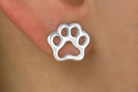 <Br>       LEAD & NICKEL FREE!!<Br>W13355E - SILVER TONE PAW<Br> EARRINGS AS LOW AS $2.90