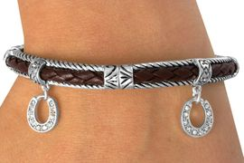 <BR>                 LEAD & NICKEL FREE!!<Br>  W13395B - BROWN & SILVER TONE<br>     AUSTRIAN CRYSTAL HORSESHOE<Br>STRETCH BRACELET AS LOW AS $5.50