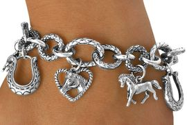 <Br>               LEAD & NICKEL FREE!!<Br>  W13418B - HORSE THEME TOGGLE<br>CHARM BRACELET AS LOW AS $8.50