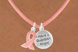 "<Br>                    LEAD & NICKEL FREE!!<Br>   W13522N - PINK AWARENESS RIBBON<Br>       ""I HAVE A GUARDIAN ANGEL"" ON A<Br>PINK SUEDE NECKLACE FROM $5.25 TO $8.65"