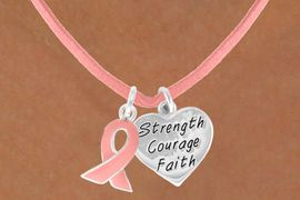 "<Br>                  LEAD & NICKEL FREE!!<Br> W13531N - PINK AWARENESS RIBBON<Br>& ""STRENGTH COURAGE FAITH"" HEART<Br>          ON A PINK SUEDE NECKLACE<BR>                FROM $4.15 TO $8.65"