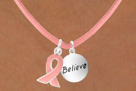 "<Br>                    LEAD & NICKEL FREE!!<Br>  W13534N - PINK AWARENESS RIBBON<Br>          & ""BELIEVE"" CIRCLE ON A PINK<Br> SUEDE NECKLACE FROM $5.25 TO $8.65"
