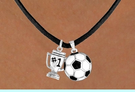 """<Br>                LEAD & NICKEL FREE!!<Br>W13539N - """"#1"""" TROPHY & SOCCER<br>  BALL NECKLACE AS LOW AS $4.50"""