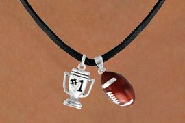 "<Br>      LEAD & NICKEL FREE!!<Br>W13542N - ""#1"" TROPHY &<br>       FOOTBALL NECKLACE<br>           AS LOW AS $4.50"