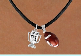 """<Br>      LEAD & NICKEL FREE!!<Br>W13542N - """"#1"""" TROPHY &<br>       FOOTBALL NECKLACE<br>           AS LOW AS $4.50"""