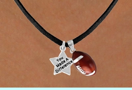 """<Br>                    LEAD & NICKEL FREE!!<Br>  W13544N - """"YOU MADE A DIFFERENCE""""<br>& FOOTBALL NECKLACE AS LOW AS $4.50"""