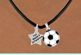 """<Br>                        LEAD & NICKEL FREE!!<Br> W13545N - """"YOU MADE A DIFFERENCE"""" &<br>SOCCER BALL NECKLACE AS LOW AS $4.50"""