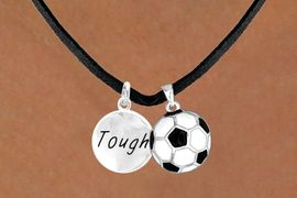 """<Br>                LEAD & NICKEL FREE!!<Br>W13551N - """"TOUGH"""" DISC & SOCCER<br>   BALL NECKLACE AS LOW AS $4.50"""