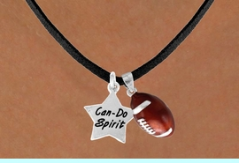 """<Br>        LEAD & NICKEL FREE!!<Br>W13556N - """"CAN-DO SPIRIT""""<br>STAR & FOOTBALL NECKLACE<br>              AS LOW AS $4.50"""