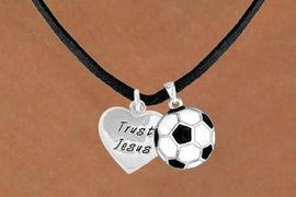 "<Br>             LEAD & NICKEL FREE!!<Br>W13559N - ""TRUST JESUS"" HEART<br>       & SOCCER BALL NECKLACE<br>                  AS LOW AS $4.50"