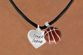 "<Br>             LEAD & NICKEL FREE!!<Br>W13560N - ""TRUST JESUS"" HEART<br>        & BASKETBALL NECKLACE<br>                  AS LOW AS $4.50"