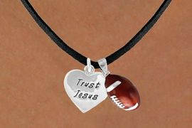 "<Br>             LEAD & NICKEL FREE!!<Br>W13562N - ""TRUST JESUS"" HEART<br>           & FOOTBALL NECKLACE<br>                  AS LOW AS $4.50"