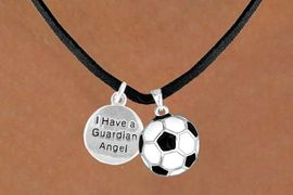 """<Br>           LEAD & NICKEL FREE!!<Br> W13563N - """"GUARDIAN ANGEL""""<br>DISC & SOCCER BALL NECKLACE<br>                AS LOW AS $4.50"""