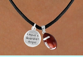 """<Br>           LEAD & NICKEL FREE!!<Br>W13566N - """"GUARDIAN ANGEL""""<br>  DISC & FOOTBALL NECKLACE<br>               AS LOW AS $4.50"""