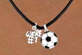 """<Br>         LEAD & NICKEL FREE!!<Br>W13569N - """"WE'RE #1"""" CHARM<Br>     & SOCCER BALL NECKLACE<BR>               AS LOW AS $4.50"""