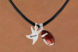 "<Br>      LEAD & NICKEL FREE!!<Br>W13574N - ""WINNER"" MAN<Br>    & FOOTBALL NECKLACE<BR>           AS LOW AS $4.50"