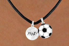 "<Br>    LEAD & NICKEL FREE!!<Br>W13577N - ""HOT!"" DISC &<br> SOCCER BALL NECKLACE<br>          AS LOW AS $4.50"