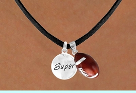 """<Br>    LEAD & NICKEL FREE!!<Br>W13580N - """"SUPER"""" DISC<br>  & FOOTBALL NECKLACE<br>         AS LOW AS $4.50"""