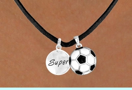 """<Br>       LEAD & NICKEL FREE!!<Br>W13581N - """"SUPER"""" DISC &<br>    SOCCER BALL NECKLACE<br>            AS LOW AS $4.50"""