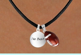 """<Br>       LEAD & NICKEL FREE!!<Br>W13586N - """"THE BEST"""" DISC<br>      & FOOTBALL NECKLACE<br>             AS LOW AS $4.50"""