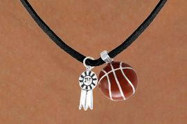 "<Br>    LEAD & NICKEL FREE!!<Br>W13588N - ""1ST"" RIBBON<br>& BASKETBALL NECKLACE<br>         AS LOW AS $4.50"