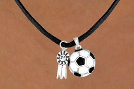 "<Br>     LEAD & NICKEL FREE!!<Br> W13589N - ""1ST"" RIBBON<br>& SOCCER BALL NECKLACE<br>          AS LOW AS $4.50"