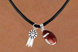 "<Br>    LEAD & NICKEL FREE!!<Br>W13590N - ""1ST"" RIBBON<br>  & FOOTBALL NECKLACE<br>         AS LOW AS $4.50"