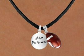 <Br>        LEAD & NICKEL FREE!!<Br>W13592N - STAR PERFORMER<br>      & FOOTBALL NECKLACE<BR>             AS LOW AS $4.50