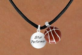 <Br>        LEAD & NICKEL FREE!!<Br>W13594N - STAR PERFORMER<br>    & BASKETBALL NECKLACE<BR>             AS LOW AS $4.50
