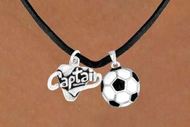 "<Br>   LEAD & NICKEL FREE!!<Br>W13595N - ""CAPTAIN"" &<br>SOCCER BALL NECKLACE<br>        AS LOW AS $4.50"